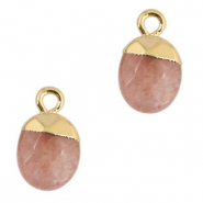 Natural stone charms Rust Rose-Gold