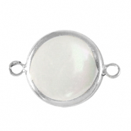 Freshwater pearls connector round 15mm Silver-Natural White