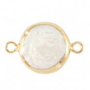 Freshwater pearls connector round 13mm Gold-Natural White