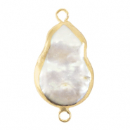 Freshwater pearls connector asymmetric drop Gold-Natural White