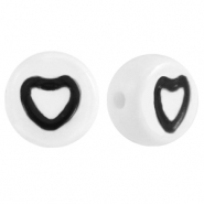 Acrylic letter beads hearts White-Black