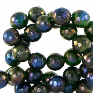 8 mm natural stone faceted beads round Dark Green-AB coating