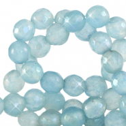 8 mm natural stone faceted beads round Dusk Blue-Opal AB Coating