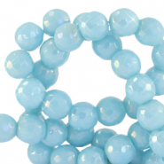 8 mm natural stone faceted beads round Sky Blue-AB Coating