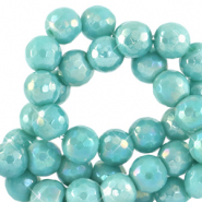 4 mm natural stone faceted beads round Canton Blue-AB Coating