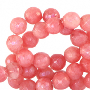 6 mm natural stone faceted beads round Living Coral Red-Opal AB Coating
