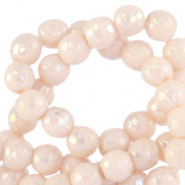 6 mm natural stone faceted beads round Ivory Cream Beige-AB Coating