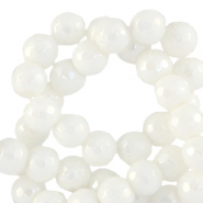 4 mm natural stone faceted beads round White-AB Coating