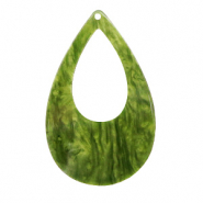 Resin pendants drop 57x36mm Guacamole Green