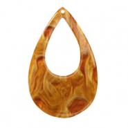 Resin pendants drop 57x36mm Golden Brown