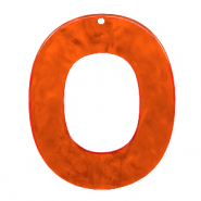 Resin pendants oval 48x40mm Tangerine Tango Orange