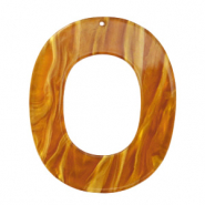 Resin pendants oval 48x40mm Golden Brown