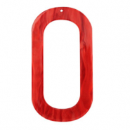 Resin pendants oblong oval 56x30mm Chilli Red