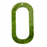 Resin pendants oblong oval 56x30mm Guacamole Green