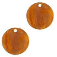 Resin pendants round 12mm Golden Brown