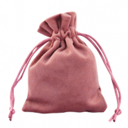 Jewellery Velvet Bag Antique Pink