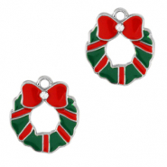 Metal charms christmas wreath Silver-Green Red