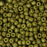 Glass seed beads 8/0 (3mm) Olive Green