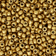 Glass seed beads 8/0 (3mm) Antique Gold Metallic