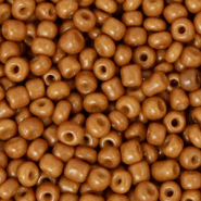 Glass seed beads 8/0 (3mm) Sugar Almond Brown