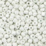 Glass seed beads 8/0 (3mm) Bright White Pearl