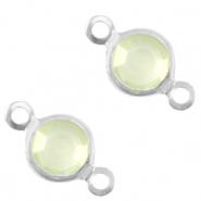 DQ European metal charms connector crystal glass round 6mm Silver-Meadow Green Opal