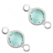 DQ European metal charms connector crystal glass round 6mm Silver-Canton Blue Opal