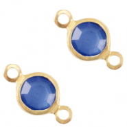 DQ European metal charms connector crystal glass round 4mm Gold-Victoria Blue Crystal