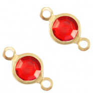 DQ European metal charms connector crystal glass round 4mm Gold-Salsa Red Crystal