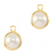 DQ European metal charms pearl round 6mm Gold-White