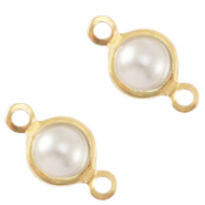 DQ European metal charms connector pearl round 4mm Gold-White