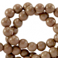 6 mm glass beads opaque Rocky Road Brown
