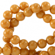 6 mm glass beads opaque Dark Cheddar Brown