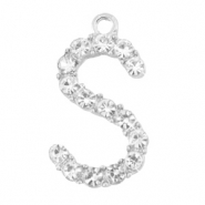 Metal rhinestone charms initial S Antique Silver