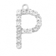 Metal rhinestone charms initial P Antique Silver