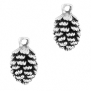 DQ European metal charms pine cone Antique Silver (nickel free)