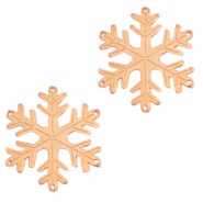 DQ European metal charms connector snowflake Rose Gold (nickel free)