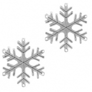 DQ European metal charms connector snowflake Antique Silver (nickel free)
