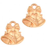 DQ European metal charms Christmas bells Rose Gold (nickel free)