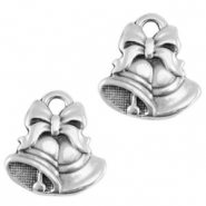 DQ European metal charms Christmas bells Antique Silver (nickel free)