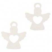 Wooden pendants angel with heart White
