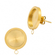Polaris Steel earrings with setting for 12mm cabochon (with loop) Gold