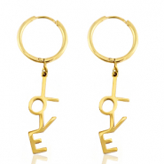 "Stainless steel earrings ""love"" Gold"
