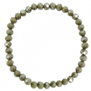 Top faceted bracelets 6x4mm Olive Green-Pearl Shine Coating