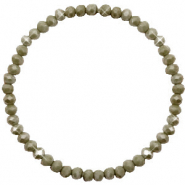 Top faceted bracelets 4x3mm Olive Green-Pearl Shine Coating