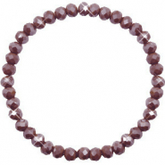 Top faceted bracelets 6x4mm Rocky Road Brown-Pearl Shine Coating