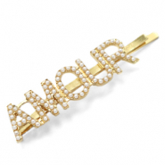 "Hair accessories bobby pin pearls ""AMOUR"" Off White-Gold"