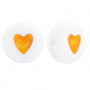 Acrylic letter beads hearts Yellow-White