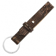 Cuoio keychain 15mm croco Hickory Brown-Silver