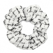Scrunchie woven hair tie White-Black
